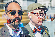 """The Tweed Run 2015 - it's 7th annual British public bicycle ride through London's historic streets, with a prerequisite that participants are dressed in their best tweed cycling attire. There are also plenty of handle bar moustaches, penny farthings and Union Jacks. """"Guests can expect a leisurely day cycling, stopping at some of London's most iconic landmarks to enjoy a spot of tea, a picnic in the park and finally a jolly good knees-up in a beautiful art-deco ballroom for the Tweed Run closing ceremony. Starting at Trafalgar Square, the cyclists then embarked on a 12 mile scenic ride through London, stopping at traditional spots."""