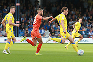 Luton Town midfielder Luke Berry (8) and  Bristol Rovers midfielders Edward Upson (6) and Ollie Clarke (8) during the EFL Sky Bet League 1 match between Luton Town and Bristol Rovers at Kenilworth Road, Luton, England on 15 September 2018.