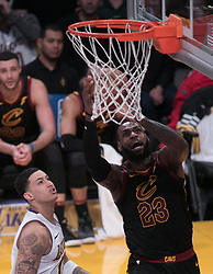 March 11, 2018 - Los Angeles, California, U.S - LeBron James #23 of the Cleveland Cavaliers takes a shot during their NBA game with the Los Angeles Lakers on Sunday March 11, 2018 at the Staples Center in Los Angeles, California. Lakers defeat Cavaliers, 127-113. (Credit Image: © Prensa Internacional via ZUMA Wire)