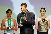 """20091207: RIO DE JANEIRO, BRAZIL - Brazilian Football Awards 2009 (""""Craque Brasileirao 2009""""), held at the Museum of Modern Art in Rio de Janeiro. In picture: Victor (Gremio) receives the Best Goalkeeper Award. PHOTO: CITYFILES"""