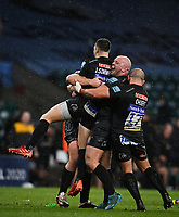 Rugby Union - 2019 / 2020 Gallagher Premiership - Final - Wasps vs Exeter Chiefs - Twickenham<br /> <br /> Exeter Chiefs' Jack Yeandle congratulates Joe Simmonds as he kicks a penalty with the last kick of the game.<br /> <br /> COLORSPORT/ASHLEY WESTERN