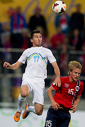 Andraz Kirm of Slovenia during the FIFA World Cup 2014 Group E qualification match between Slovenia and Norway on October 11, 2013 in Stadium Ljudski vrt, Maribor, Slovenia. (Photo by Urban Urbanc / Sportida)