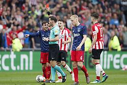 (L-R) Nico Tagliafico of Ajax, referee Danny Makkelie, Santiago Arias of PSV, Donny van de Beek of Ajax, Marco van Ginkel of PSV during the Dutch Eredivisie match between PSV Eindhoven and Ajax Amsterdam at the Phillips stadium on April 15, 2018 in Eindhoven, The Netherlands
