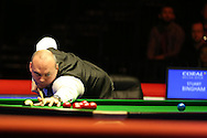 Stuart Bingham of England in action. Coral Welsh Open Snooker 2017, final match, Judd Trump of England v Stuart Bingham of England at the Motorpoint Arena in Cardiff, South Wales on Sunday 19th February 2017.<br /> pic by Andrew Orchard, Andrew Orchard sports photography.