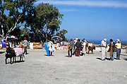 Tourists and traders selling souvenirs near Cape Spartel, Morocco, north Africa, 1999