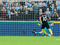 Football - 2016 /2017 Premier League - Swansea City vs Manchester City<br /> <br /> Sergio Aguero of Manchester City scores his team's second goal from the penalty spot at the Liberty Stadium.<br /> <br /> <br /> PIC COLORSPORT/WINSTON BYNORTH