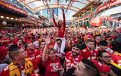 February 2, 2020, Kansas City, Missouri, USA: ANIA BERNACIK, center, was one of thousands of Kansas City Chiefs fans at the Power & Light District Sunday who were there hours early to attend a Super Bowl watch party. The crowd was there to watch the Chiefs take on the San Francisco 49ers. (Credit Image: © TNS via ZUMA Wire)