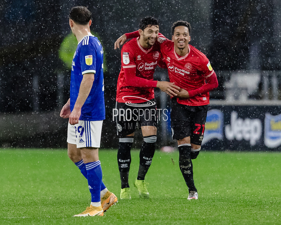 Queens Park Rangers Chris Willock and Queens Park Ranger's Macauley Bonne celebrate a Queens park goal during the EFL Sky Bet Championship match between Cardiff City and Queens Park Rangers at the Cardiff City Stadium, Cardiff, Wales on 20 January 2021.