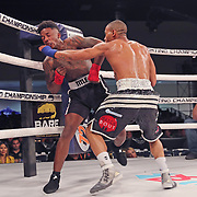 FORT LAUDERDALE, FL - FEBRUARY 15: Reggie Barnett (R) punches Matt Murphy during the Bare Knuckle Fighting Championships at Greater Fort Lauderdale Convention Center on February 15, 2020 in Fort Lauderdale, Florida. (Photo by Alex Menendez/Getty Images) *** Local Caption *** Reggie Barnett; Matt Murphy