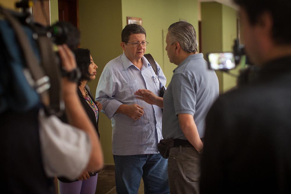 Commander Pablo Catatumbo of the Fuerzas Armadas Revolucionarias de Colombia, FARC, is interviewed by Caracol TV at the peace negotiations being held in Havana, Cuba