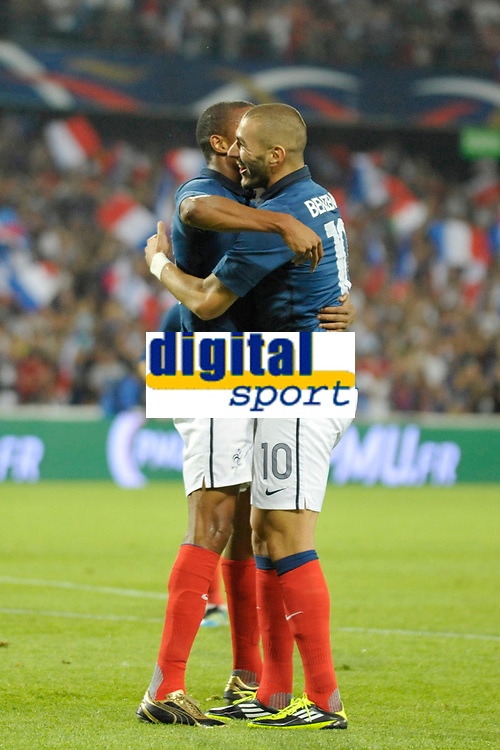 FOOTBALL - FRIENDLY GAME - FRANCE v CHILI - 10/08/2011 - PHOTO SYLVAIN THOMAS / DPPI - JOY LOIC REMY (FRA) AFTER HIS GOAL WITH KARIM BENZEMA