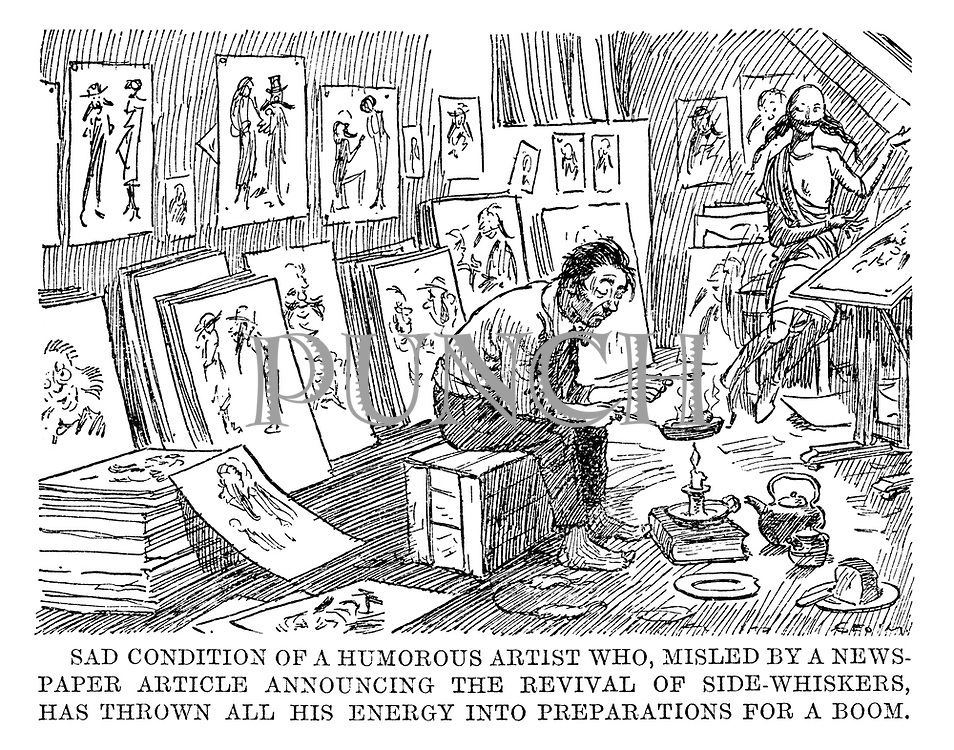 Sad condition of a humorous artist who, misled by a newspaper article announcing the revival of side-whiskers, has thrown all his enery into preparations for a boom.