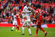 AFC Flyde forward Alex Reid (30) and AFC Flyde forward Danny Rowe (9) celebrates at full time during the FA Trophy final match between AFC Flyde and Leyton Orient at Wembley Stadium on 19 May 2019.