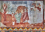 Pictures & images of the Byzantine fresco panels on the north wall of the Gelati Georgian Orthodox Church of the Virgin, 1106.  The medieval Gelati monastic complex near Kutaisi in the Imereti region of western Georgia (country). A UNESCO World Heritage Site. .<br /> <br /> Visit our MEDIEVAL PHOTO COLLECTIONS for more   photos  to download or buy as prints https://funkystock.photoshelter.com/gallery-collection/Medieval-Middle-Ages-Historic-Places-Arcaeological-Sites-Pictures-Images-of/C0000B5ZA54_WD0s<br /> <br /> Visit our REPUBLIC of GEORGIA HISTORIC PLACES PHOTO COLLECTIONS for more photos to browse, download or buy as wall art prints https://funkystock.photoshelter.com/gallery-collection/Pictures-Images-of-Georgia-Country-Historic-Landmark-Places-Museum-Antiquities/C0000c1oD9eVkh9c