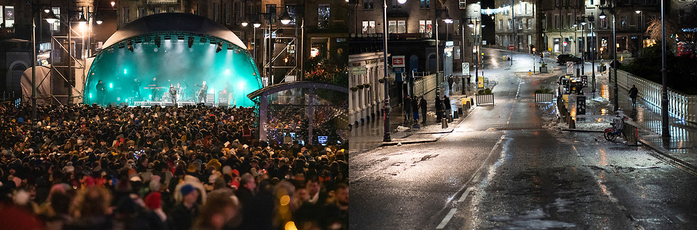Edinburgh, Scotland, UK. 31 December 2020. Contrasting mages from Hogmanay in 2019 and 2010 showing the effects of the Covid-19 lockdown on celebrations in the city.  In 2019 a large Christmas Market was in Princes Street Gardens and several live music stages were erected on the city streets. Pic; Human League perform to large crowd in 2019 but in 2020 the same street location is empty. Iain Masterton/Alamy Live News