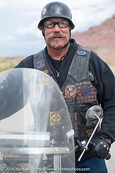 Rowdy Schenck of New Mexico at the Gap Express gas stop in Cameron, AZ with his 1915 Harley-Davidson during the during the Motorcycle Cannonball Race of the Century. Stage-12 ride from Page, AZ to Williams, AZ. USA. Thursday September 22, 2016. Photography ©2016 Michael Lichter.