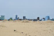 At the North of China Beach in Danang, the city seems to raise from the sand. Vietnam, Asia