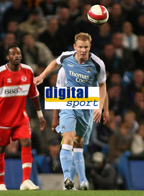 Photo: Paul Thomas.<br /> Manchester City v Middlesbrough. The Barclays Premiership. 30/10/2006.<br /> <br /> Ben Thacther of Man City during his come back game after an eight game ban he gopt during the Portsmouth match.