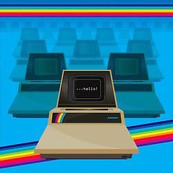 Retro computer illustration with rainbow surround on blue background