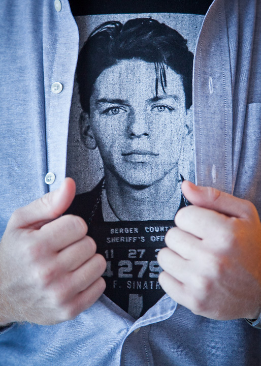 Graham Thatcher displays his Frank Sinatra t-shirt.
