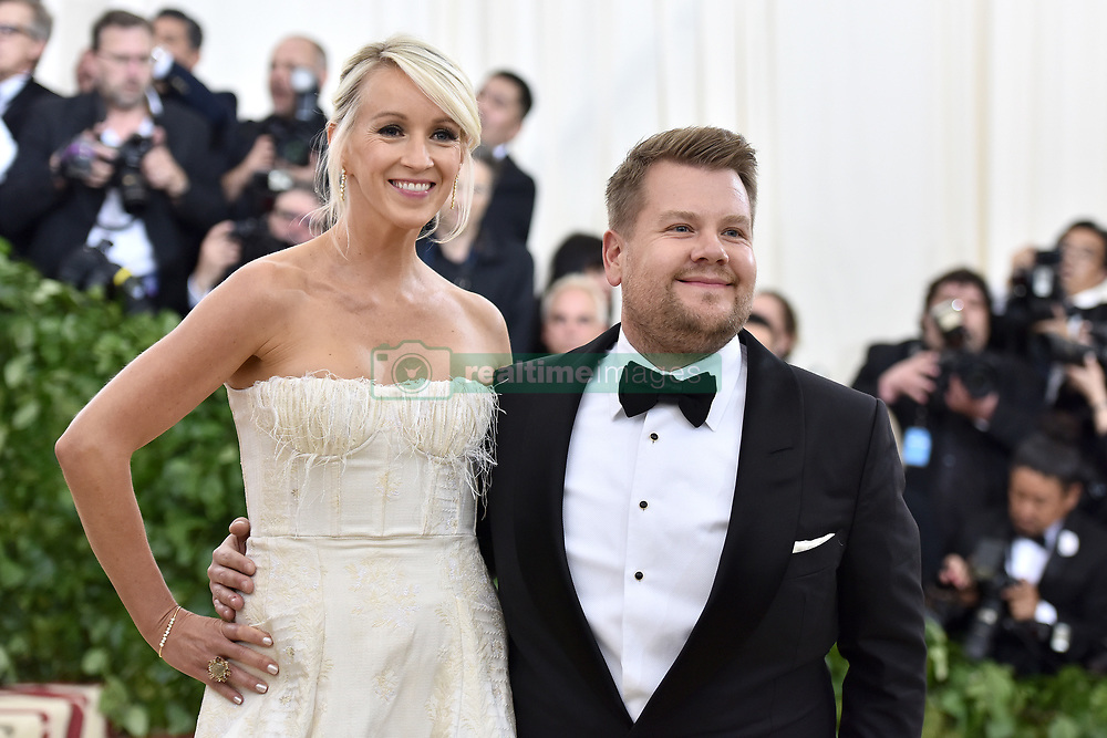Julia Corden and James Corden walking the red carpet at The Metropolitan Museum of Art Costume Institute Benefit celebrating the opening of Heavenly Bodies : Fashion and the Catholic Imagination held at The Metropolitan Museum of Art  in New York, NY, on May 7, 2018. (Photo by Anthony Behar/Sipa USA)