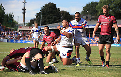 Wakefield Trinity Wildcats Pauli Pauli celebrates scoring 2nd half try against Hull FC during the Betfred Super League match at Belle Vue Stadium, Wakefield.