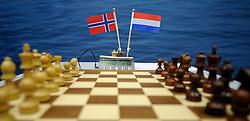 17-01-2011 SCHAKEN: TATA STEEL CHESS TOURNAMENT: WIJK AAN ZEE <br /> Schaakbord Nederland vs. Noorwegen creative illustratief<br /> ©2010-WWW.FOTOHOOGENDOORN.NL