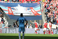 Nacho Monreal of Arsenal © celebrates after he scores his teams 1st goal. The Emirates FA Cup semi-final match, Arsenal v Manchester city at Wembley Stadium in London on Sunday 23rd April 2017.<br /> pic by Andrew Orchard,  Andrew Orchard sports photography.