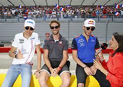 June 24, 2018 - Le Castellet, France - Motorsports: FIA Formula One World Championship 2018, Grand Prix of France, .#31 Esteban Ocon (FRA, Sahara Force India F1 Team), #8 Romain Grosjean (FRA, Haas F1 Team), #10 Pierre Gasly (FRA, Red Bull Toro Rosso Honda) (Credit Image: © Hoch Zwei via ZUMA Wire)