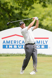 June 22, 2018 - Madison, WI, U.S. - MADISON, WI - JUNE 22:Mike Small tees off on the eighteenth tee during the American Family Insurance Championship Champions Tour golf tournament on June 22, 2018 at University Ridge Golf Course in Madison, WI. (Photo by Lawrence Iles/Icon Sportswire) (Credit Image: © Lawrence Iles/Icon SMI via ZUMA Press)