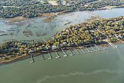 Aerial view of luxury homes and private docks along Captain Maynards Island on Kiawah Island, South Carolina.