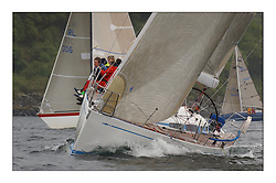 Yachting- The last days racing  of the Bell Lawrie Scottish series 2003 at Tarbert Loch Fyne.  Damp grey skies and light winds decided the final results in most fleets...Keith Miller's new Swan 45 ' Crackerjack'. ....Pics Marc Turner / PFM