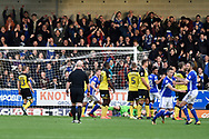 Ipswich Town midfielder Bersant Celina (11) scores a goal to make the score 2-1 from a direct free-kick during the EFL Sky Bet Championship match between Burton Albion and Ipswich Town at the Pirelli Stadium, Burton upon Trent, England on 28 October 2017. Photo by Richard Holmes.