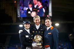 Podium Vian Group WDM Mechelen <br /> 1. Patrick Kittel - Delaunay<br /> 2. Tommy Visser - Vario  Hippique's Vingino<br /> 3. Terhi Stegars - Axis TSF<br /> Grand Prix Kur Vian Group WDM<br /> Vlaanderen Kerstjumping - Memorial Eric Wauters - <br /> Mechelen 2015<br /> © Hippo Foto - Dirk Caremans<br /> 28/12/15