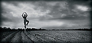 A scarecrow is arranged in a ballerina pose in a cornfield
