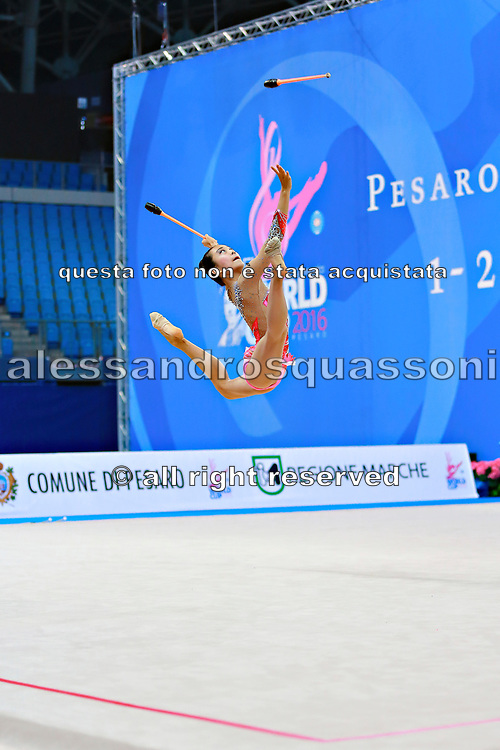 Zeng Laura  during qualifying at clubs in Pesaro World Cup 02 April 2016. Laura was born in Hartford, Connecticut in October 14, 1999. She is an American individual rhythmic gymnast.