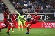 Nana Asare (Gent) and Lukas Lerager (Bordeaux) fight for the ball during the first leg of the Uefa Europa League play-off match between Kaa Gent and Girondins de Bordeaux on August 23, 2018 in Ghent, Belgium, Photo Vincent Van Doornick / Isosport / Pro Shots / ProSportsImages / DPPI