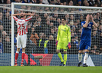 Football - 2016 / 2017 Premier League - Chelsea vs. Stoke City <br /> <br />  Peter Crouch of Stoke City holds his head in his hands as does Gary Cahill of Chelsea for different reasons after Stoke go close at Stamford Bridge.<br /> <br /> COLORSPORT/DANIEL BEARHAM