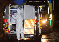 "© Licensed to London News Pictures.  03/01/2021. Reading, UK. Police forensics at the scene on Gravel Hill. Paramedics and police have responded to a ""serious incident"" in Reading on Sunday evening, forensic investigators were seen gathering evidence from an ambulance outside a property on Gravel Hill, reports that a teenager had been stabbed are yet to be confirmed by police. Credit: Peter Manning/LNP"