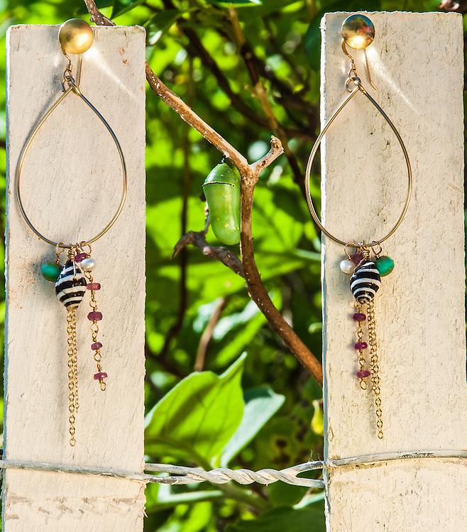Noelani Designs Shell Charm Bangle Earrings