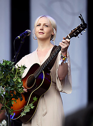 Laura Marling performing on the Pyramid Stage at Glastonbury Festival, at Worthy Farm in Somerset.