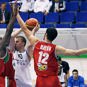 Anadolu Efes's Dusko SAVANOVIC (C) during their Turkey Cup Qualifying basketball second match Anadolu Efes between Pinar Karsiyaka at Aliaga Arena in Izmir, Turkey, Monday, October 10, 2011. Photo by TURKPIX