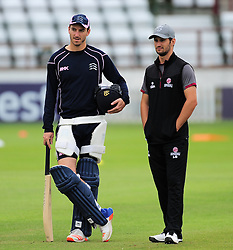 Toby Roland-Jones and Lewis Gregory look on.  - Mandatory by-line: Alex Davidson/JMP - 15/07/2016 - CRICKET - Cooper Associates County Ground - Taunton, United Kingdom - Somerset v Middlesex - NatWest T20 Blast