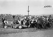 Innes Ireland, Lotus no. 15, winner of inaugural US Grand Prix at Watkins Glen, NY, 1961; Photo by Geraldine Lyons