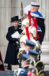 © London News Pictures.17/04/2013. London, UK.  HRH Queen Elizabeth II leaving St Paul's Cathedral in London following the funeral of former British Prime Minister Margaret Thatcher on April 17, 2013. Photo credit : Ben Cawthra/LNP