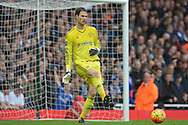 Goalkeeeper Asmir Begovic of Chelsea in action. Barclays Premier League, West Ham Utd v Chelsea at The Boleyn Ground, Upton Park in London on Saturday 24th October 2015.<br /> pic by John Patrick Fletcher, Andrew Orchard sports photography.