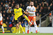 Burton Albion defender Colin Daniel clears the ball during the EFL Sky Bet League 1 match between Burton Albion and Luton Town at the Pirelli Stadium, Burton upon Trent, England on 27 April 2019.