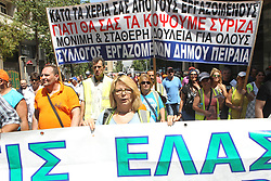 June 22, 2017 - Athens, Greece - Municipal waste collection workers protest in the center of Athens. The workers are fighting for their employment, as 10,000 temporary contracts are running out at the end of the month. (Credit Image: © Aristidis Vafeiadakis via ZUMA Wire)
