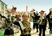 National dancers with castanets, sombreros and mantillas in Salamanca, Spain RESERVED USE - NOT FOR DOWNLOAD -  FOR USE CONTACT TIM GRAHAM