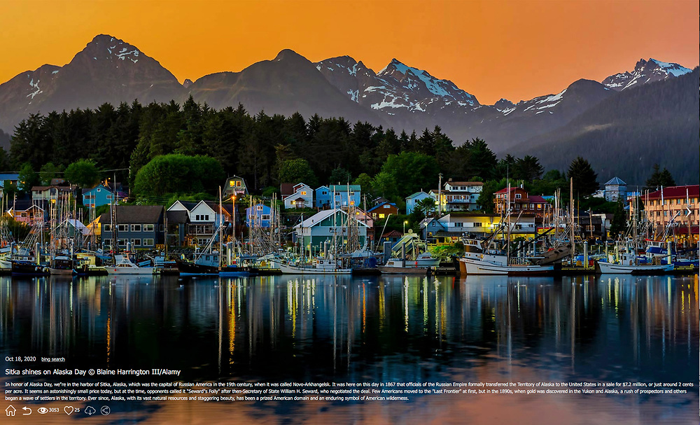 BING Photo of the Day, October 18, 2020. Sitka, Alaska by Blaine Harrington III.